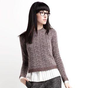 Theory Wool Crewneck Chevron Print Sweater